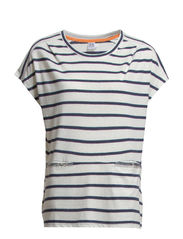 STRIPED T-SHIRT W. POCKET - B. White