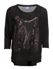TOP WITH PRINTED WOLF - Black