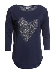 HEART DECORATED JERSEY T-SHIRT - BlueDawn