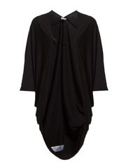 LONG RUCHED JERSEY CARDIGAN - Black