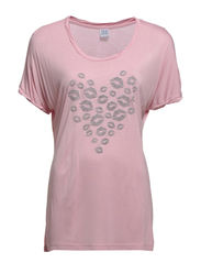 T-SHIRT WITH HEART LIPS PRINT - C.Pink
