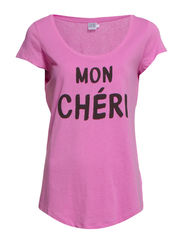 T-SHIRT WITH TEXT PRINT - C.PINK