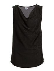 TANK TOP WITH COWL NECK - Black