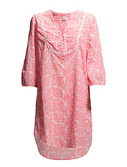 TUNIC W DETAILS AT YOKE/PRINT - CoralNeon