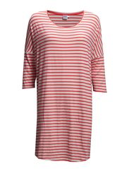 STRIPED JERSEY TUNIC - CoralNeon