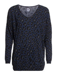 LEOPARD PRINT KNIT BLOUSE - DeepBlue
