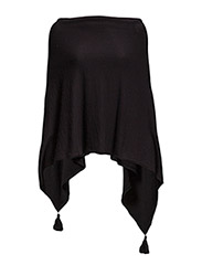 PONCHO WITH TASSELS - Black