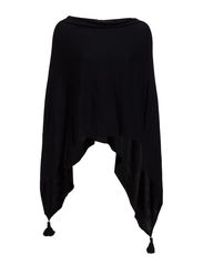 PONCHO WITH TASSELS - D.Navy