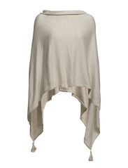 PONCHO WITH TASSELS - Sand M.