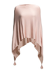 PONCHO WITH TASSELS - Tea Rose