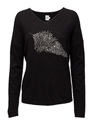 STUD LEAF SWEATER - Black