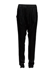 WOVEN AND JERSEY MIX PANT - Black