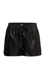 IMITATED LEATHER SHORTS - Black