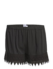 SHORTS W LACE DETAIL - Black