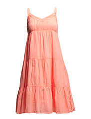 STRAP DRESS WITH LACE TRIM - CoralNeon