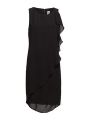 DRESS WITH RUFFLE - Black