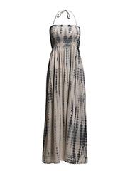 LONG PRINTED STRAP DRESS - FLAMINGO