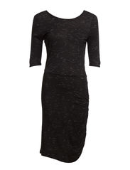 GATHERED JERSEY DRESS - Black M.