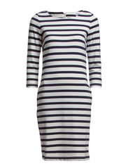STRIPED JERSEY DRESS - B. White