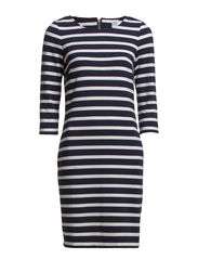 STRIPED JERSEY DRESS - D.Navy