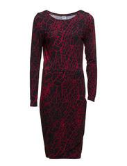 PRINTED STRAIGHT JERSEY DRESS - Black