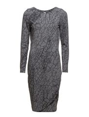 PRINTED STRAIGHT JERSEY DRESS - C.Grey M