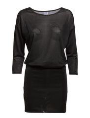 DRAPY ONECK DRESS - Black