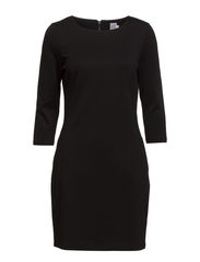 JERSEY DRESS W BACK ZIPPER - Black