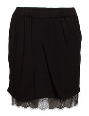 SKIRT WITH LACE HEM - Black