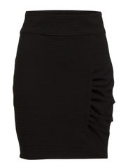 ASYMETRIC SKIRT W. RUSHING - Black