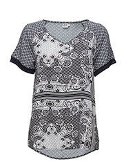 PRINTED T-SHIRT BLOUSE - HEATHER
