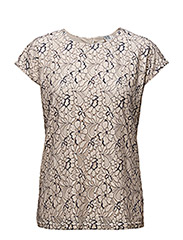TWO COLOUR LACE BLOUSE - ICE