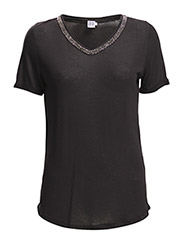T-SHIRT WITH BEADS AT NECK - BLACK