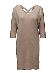KNIT DRESS WITH CROSSED BACK - LATTE M.