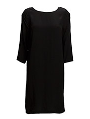 DRESS WITH COWL NECK BACK - BLACK