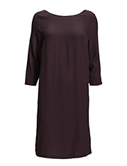 DRESS WITH COWL NECK BACK - PLUM