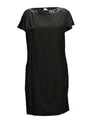 WOVEN DRESS WITH NECK DETAIL - BLACK