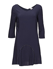WOVEN DRESS WITH STONES - DEEPBLUE