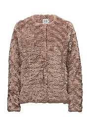 FAUX FUR JACKET - FAWN
