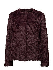 FAUX FUR JACKET - WINE
