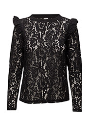 LACE BLOUSE W. FRILL - BLACK