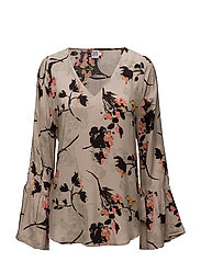 BLOUSE WITH TIE SLEEVES - CREME