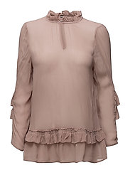 BLOUSE WITH RUFFLE SLEEVE - FAWN