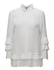 BLOUSE WITH RUFFLE SLEEVE - WHITE