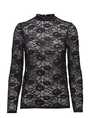 TOP WITH STRETCH LACE - BL DEEP
