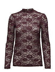 TOP WITH STRETCH LACE - WINE