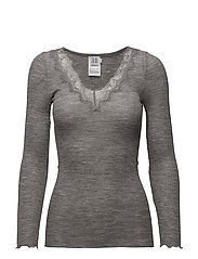 L/S TOP WITH LACE - C.GREY M