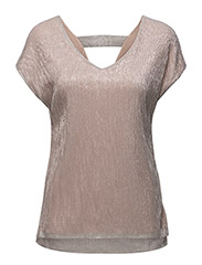 PLEATED SHIMMER T-SHIRT - ROSE D.