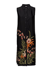 PLACE FLOWER PRINTED TUNIC - BLACK