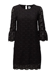 LACE DRESS W. BELL SLEEVES - BLACK